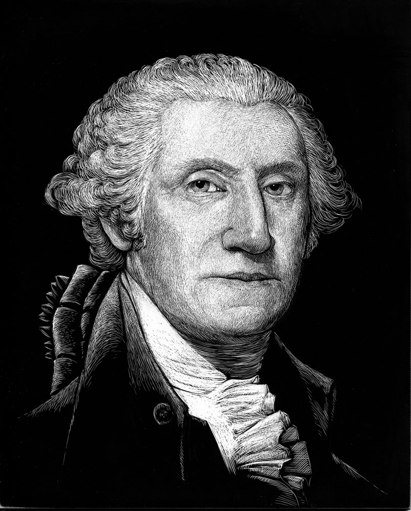 George Washington in Scratchboard